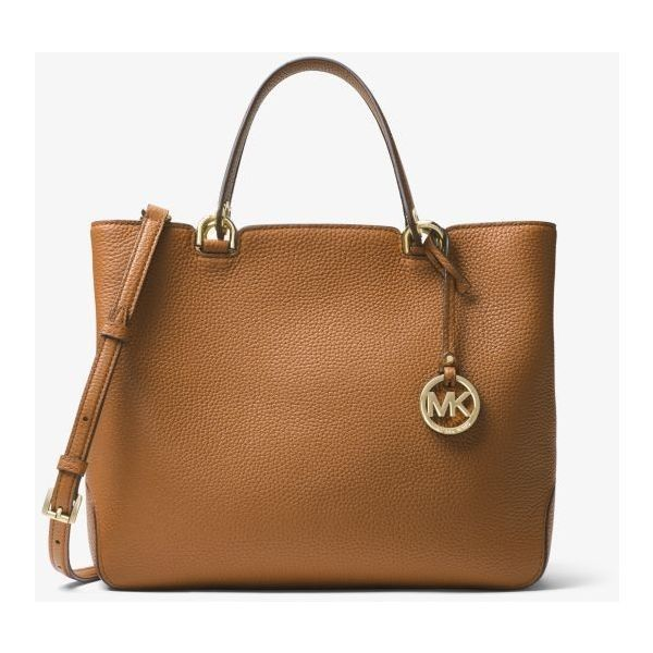 MICHAEL Michael Kors Anabelle Leather Tote ($124) ❤ liked on Polyvore featuring bags, handbags, tote bags, brown leather purse, leather tote purse, genuine leather tote, zip top leather tote and tote purses