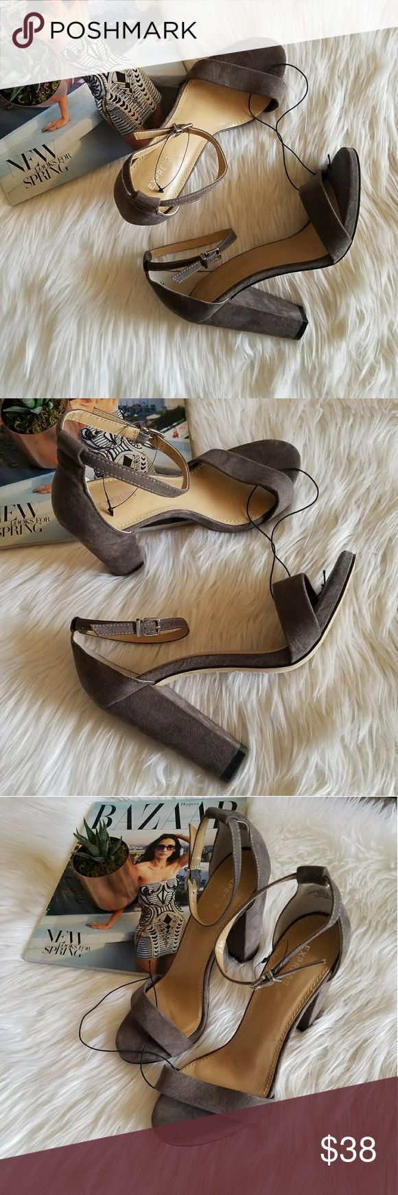 Express Grey block heels ankle strap NEW Up for consideration is a new pair of womens Express heels!   Heel height aporox 4in Express Shoes Heels