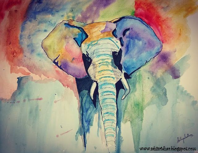 #art #drawing #sketching #painting #diy #watercolor #acrylics #canvas #elephant #artsy #easy #diy #shading  #colors #jumbo