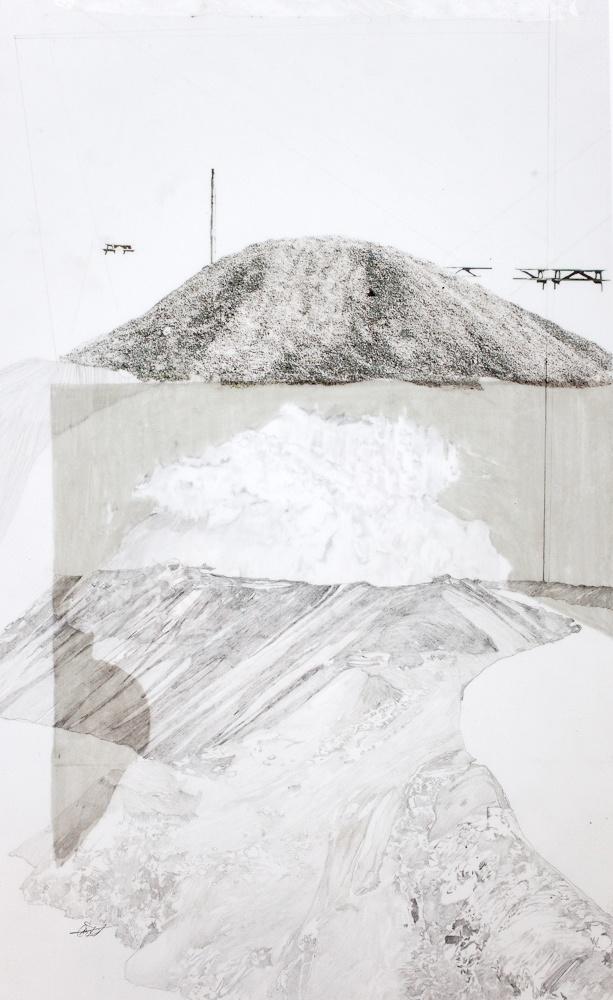 Haldes Urbaines 3  Impression numérique et graphite sur deux feuilles de papier Mylar.  32 cm x 20 cm  #art#drawing
