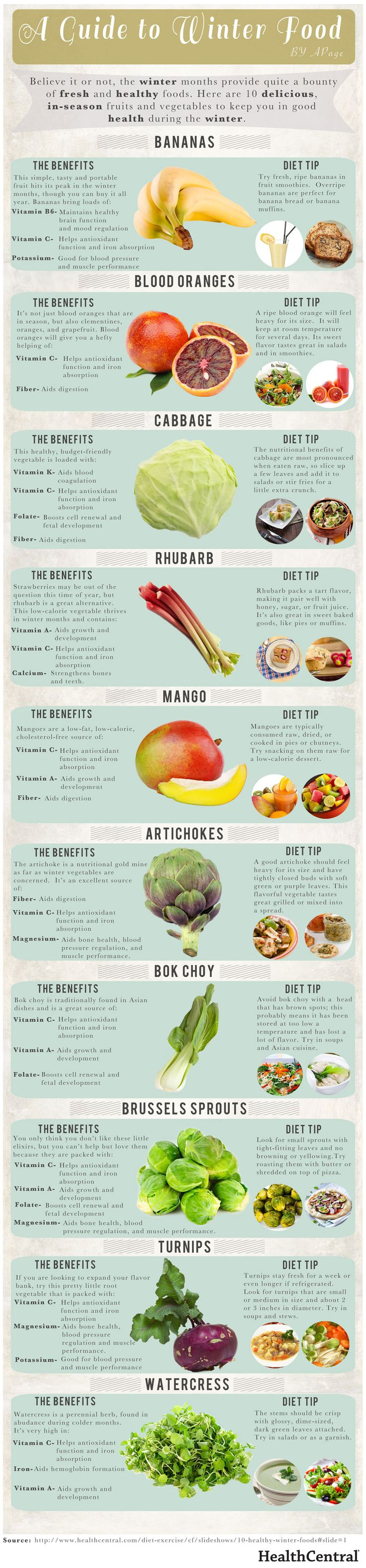 Natural plant based diet: Guide to health benefits of bananas, blood oranges, cabbage, rhubarb, mango, artichokes, bok choy (Chinese cabbage), brussell sprouts, turnips and watercress; and how to incorporate them into your diet. #plantbased #diet