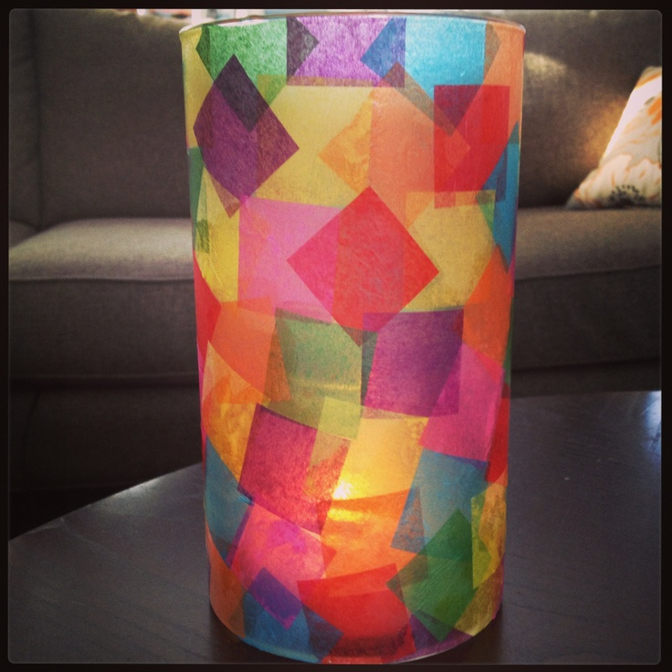 Tissue paper vase. Use Modge Podge to layer tissue squares (got them on Amazon). After it dries coat it with a top coat of Sparkle Modge Podge. Use as a vase or it's super pretty  with a candle inside.