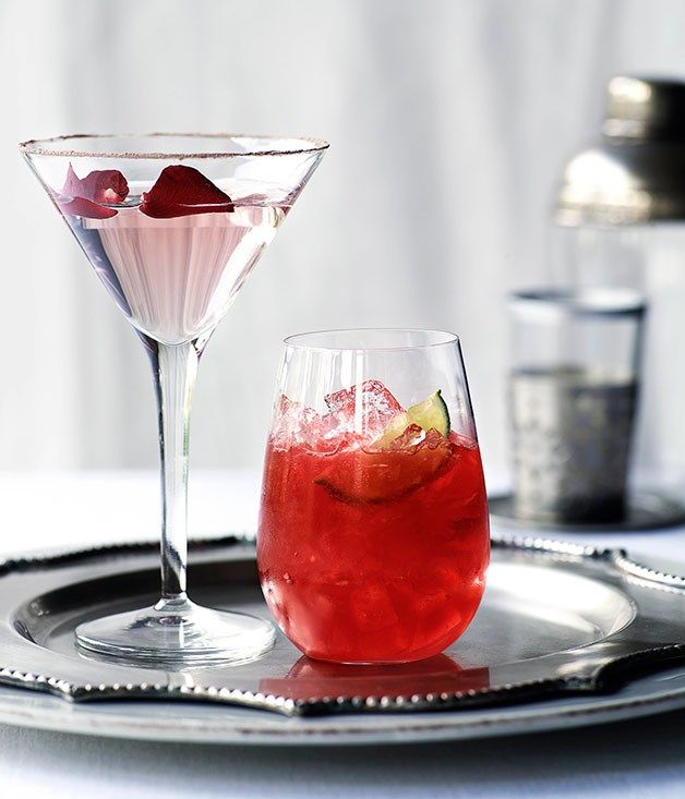 You'll need ½lemon or lime To garnish:drinking chocolate 45 mlvodka 3 tspwhite crème de cacao 3 tspgood-quality rose syrup (see note) 2-3 dropsrosewater To garnish:rose petals (optional) Method 01Rub the rim of an chilled elegant martini glass with the lemon or lime, then dip into a saucer of drinking chocolate. Combine the vodka, crème de cacao and rose syrup in a cocktail shaker with a handful of ice. Stir well, then strain into the martini glass. Add a few drops of rosewater and garnish…