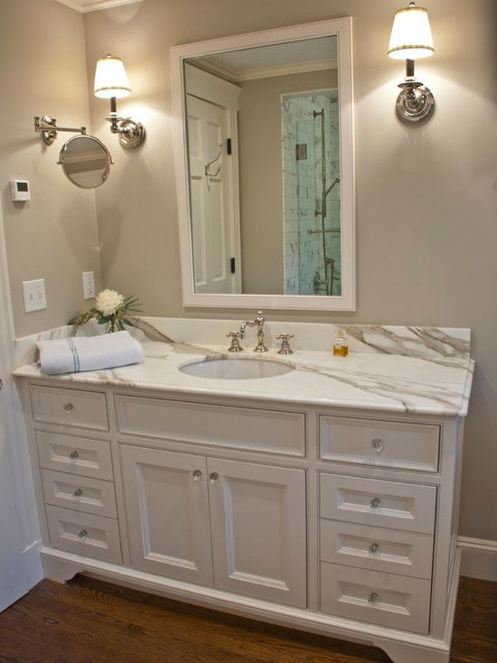 1 Plus 1 Design - bathrooms - Benjamin Moore - Revere Pewter - Benjamin Moore Cloud White, Restoration Hardware Chatham Extension Mirror, white vanity,  calacatta marble countertop, honed calacatta marble