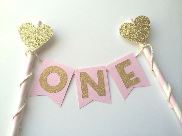 Pink and Gold Personalized Heart Cake Topper | 1st Birthday Cake | Smash Cake | Photo Prop