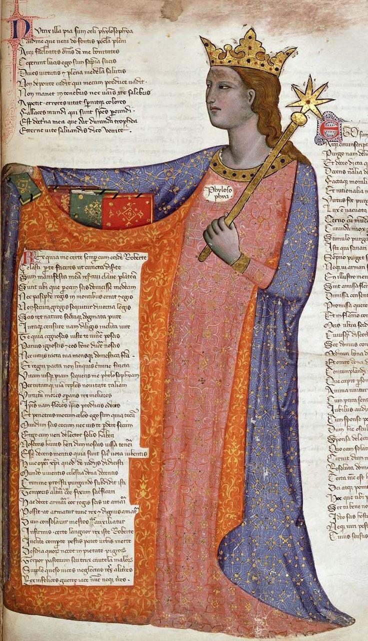 """British Library, Królewska 6 E IX, szczegóły f. 27 (filozofia). Convenevole da Prato (""""Adres w wersecie do Roberta Andegaweńskiego, króla Neapolu, z miasta Prato w Toskanii""""). Toskania, c.1335-1340."""
