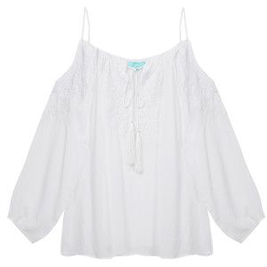 Melissa Odabash Amandine White Off-Shoulder Coverup Blouse