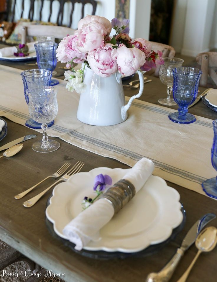 Peonies And Sweet Peas Make For A Soft Summer French Country Table Setting