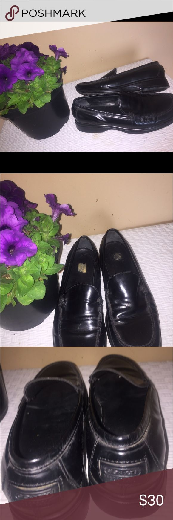Vintage Coach Black Leather Loafers Size 7B Classic black leather Loafers by, Coach.   Size 7.  Slip on with Coach emblem on heel.  Style name,  Rita.   Nice pre-owned condition. Coach Shoes Flats & Loafers