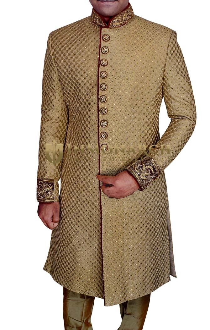 Mens Beige 2 Pc Wedding Sherwani Stone Work