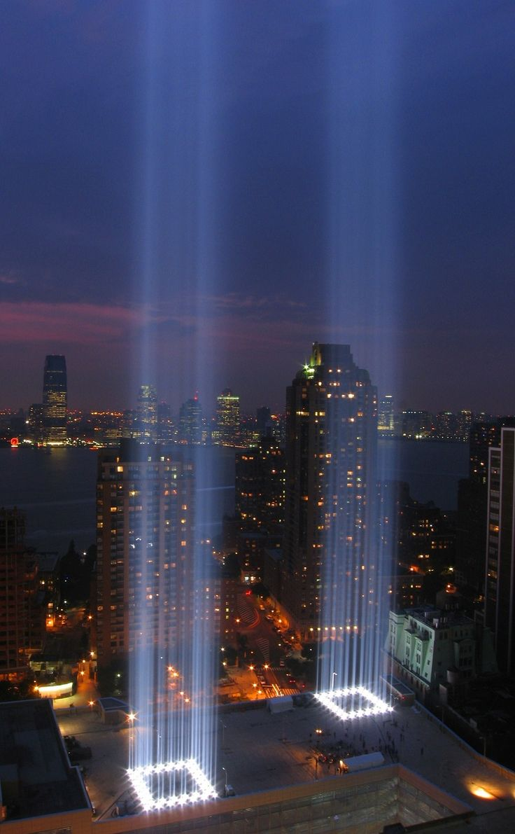 Tribute In Light - NYC (September 11, 2007) - Tribute in Light is an art installation of 88 searchlights placed next to the site of the World Trade Center to create two vertical columns of light in remembrance of the September 11 attacks. It is produced annually by The Municipal Art Society of New York.