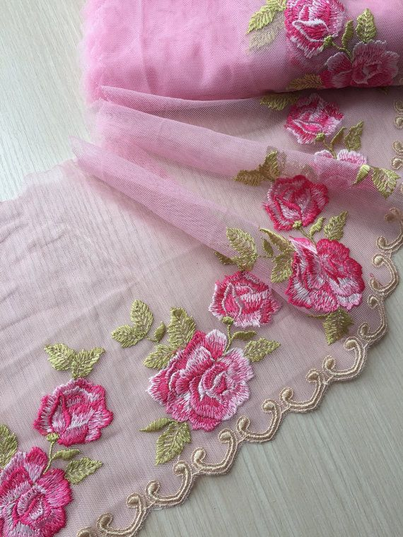 Pink+Gold Large Flower Lace Trim Embroidery Flower Wedding Fabric 22cm Width 1Yd