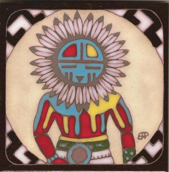 Hopi Indian Kachina Ceramic Hand Painted Tile Original