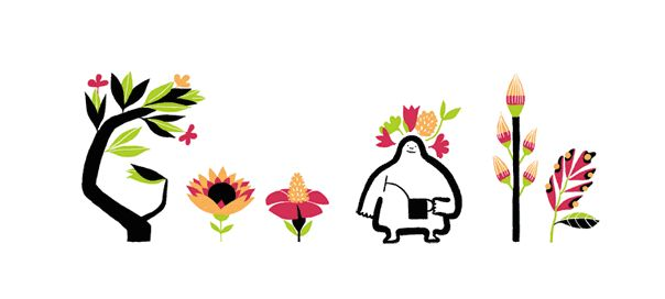 Google : Équinoxe de printemps en doodle animé