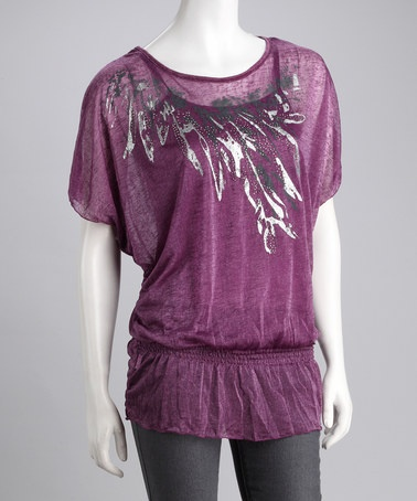 Take a look at this Purple Hand-Painted Layered Peasant Top - Women & Plus by Update Your Closet: Women's Trends on #zulily today!