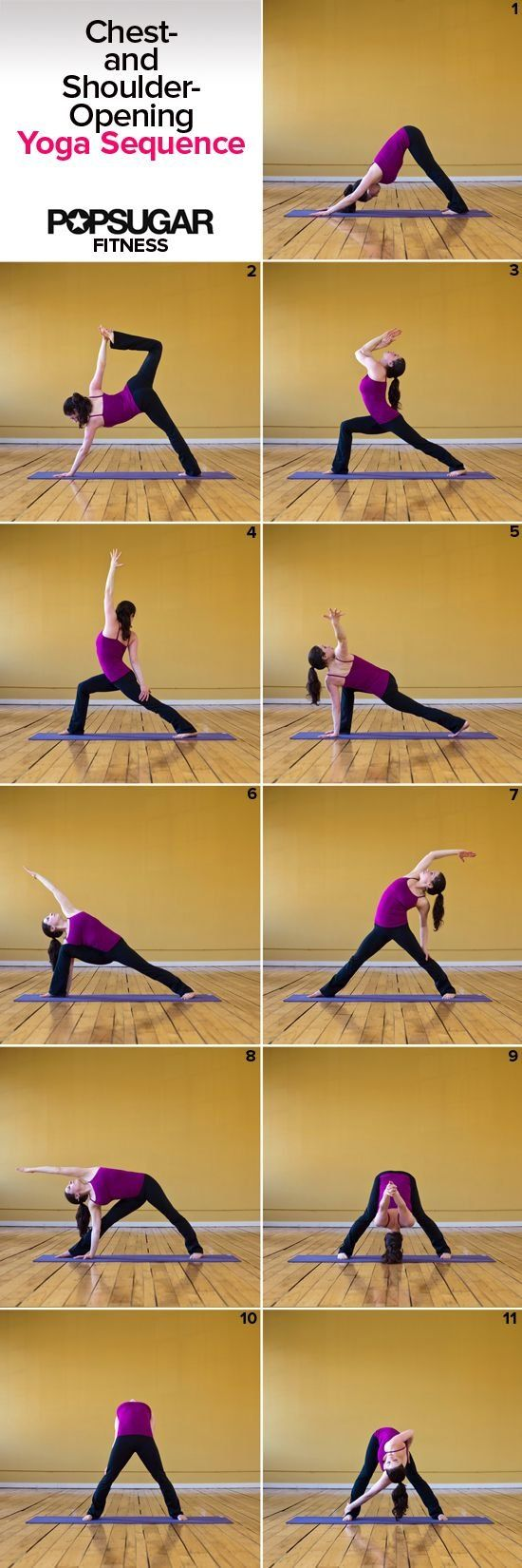 Yoga to Open Up Tight and Tense Shoulders - What do push-ups, cycling, and sitting hunched over a computer all have in common? Tight and tense shoulders. Aside from scheduling an appointment with a massage therapist, you can hop on a mat and show this area some love with this chest- and shoulder-opening yoga sequence. Move through all 11 postures on the right side, and then repeat on the left.