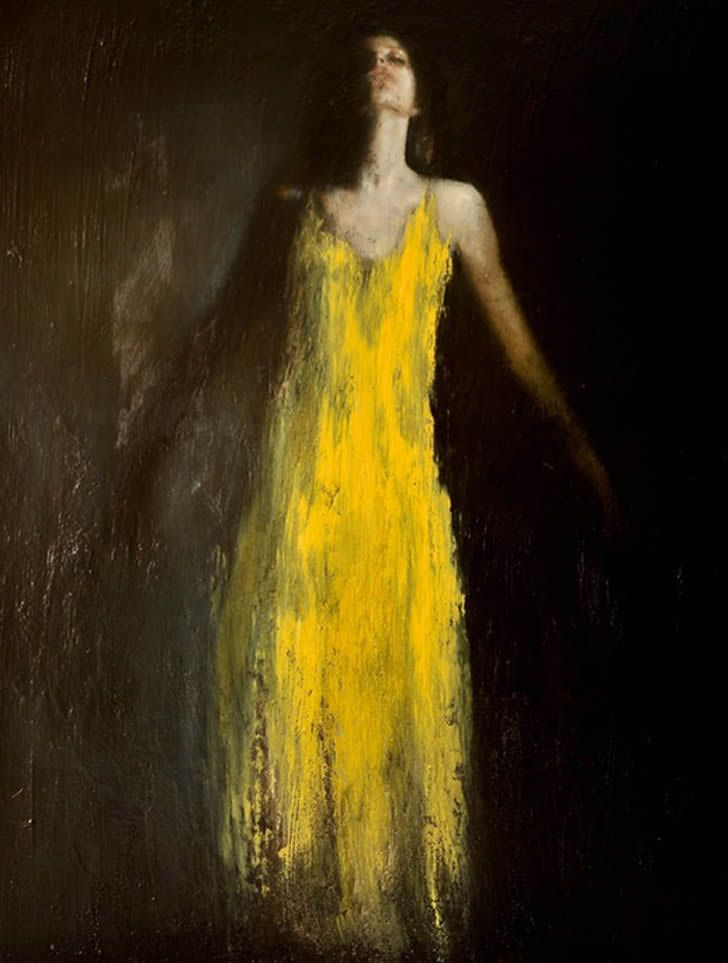 Yellow dress black umbrella painting rain