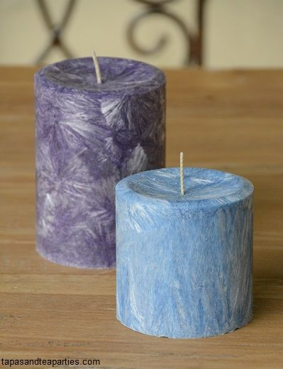Rustic purple & blue pillar candles available by special order from $10 to $15 AUD, (Australia Only)  Email direct:  tapasandteaparties@outlook.com