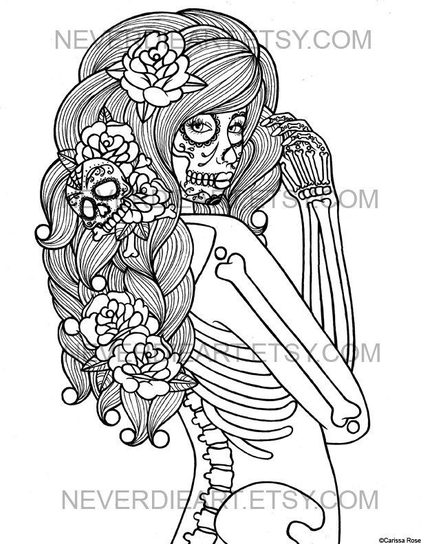 Digital Download Print Your Own Coloring Book Outline Page Etsy Animal Coloring  Pages, Skull Coloring Pages, Coloring Pages