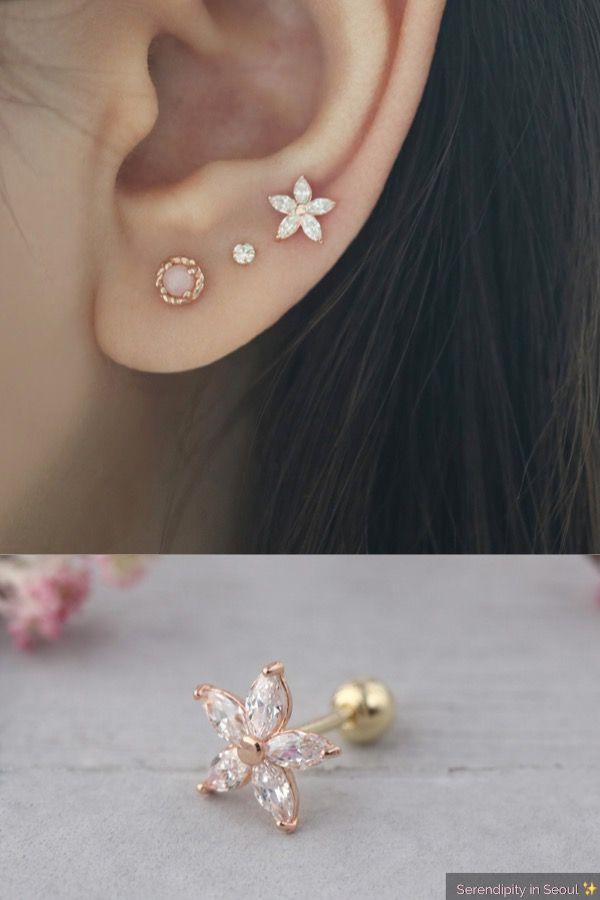 Beautiful Copper Daisy Flower Shape Ear Stud Earrings Ladies Jewelry