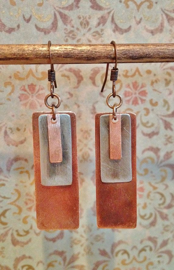 Mixed Metal Earrings Silver and Copper Earrings by Lammergeier, $34.00