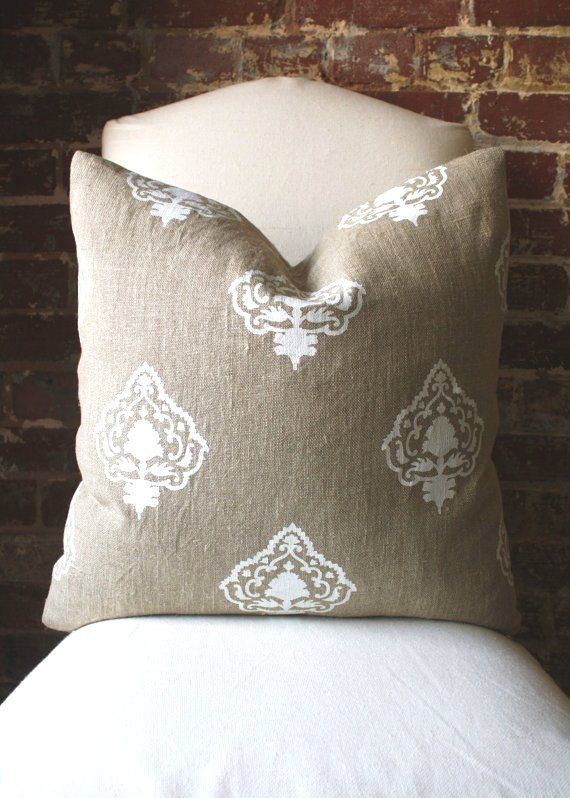White Medallion  Hand printed in India on Natural by MarthaAndAsh, $70.00