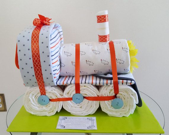 Train Diaper Cake by LadyEmmGiftShop on Etsy