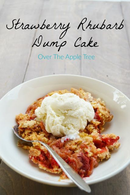 Strawberry Rhubarb Dump Cake - http://overtheappletree.blogspot.ca/2017/07/strawberry-rhubarb-dump-cake.html