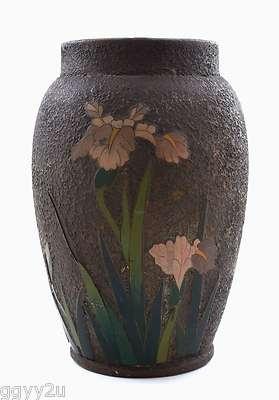 Japanese Totai Tree Bark Cloisonne Porcelain Iris Flower Vase | eBay