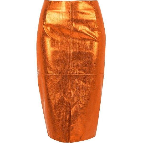River Island Metallic orange pencil skirt ($80) ❤ liked on Polyvore featuring skirts, midi skirts, orange, women, tall skirts, high-waisted skirts, metallic pencil skirt, knee length pencil skirt and high-waisted pencil skirts