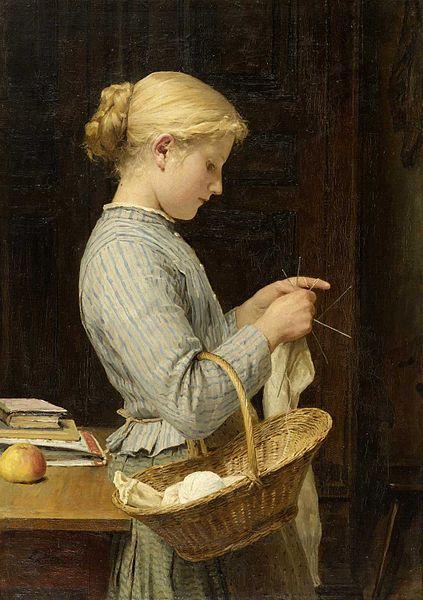 File:Albert Anker - Strickendes Mädchen (1888).jpg