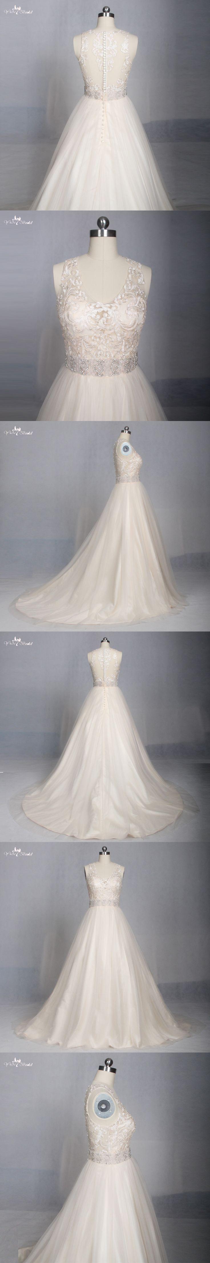 LZ174 Alibaba Champagne Scoop Lace Fabric Vestido De Noiva Chiffon A Line Wedding Dress Crystal Wedding Dresses