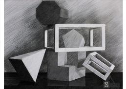 Still nature pencil drawing. Rysunek martwej natury z brył www.kurs-rysunku.com.pl
