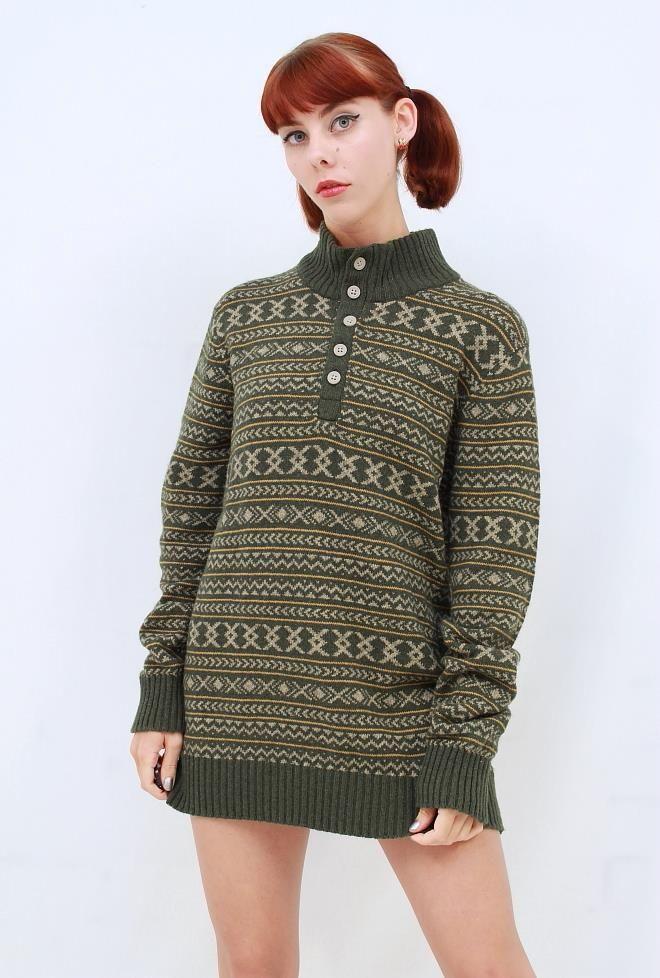 COLUMBIA MENS Dark Khaki Green AZTEC NORDIC Warm Winter Sweater Pullover BNWOT S