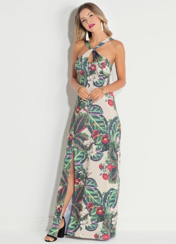 c3f081295 Longo folhagens leve e elegante | Vestido Longo | Maxi floral, Quintess,  Moda brasil