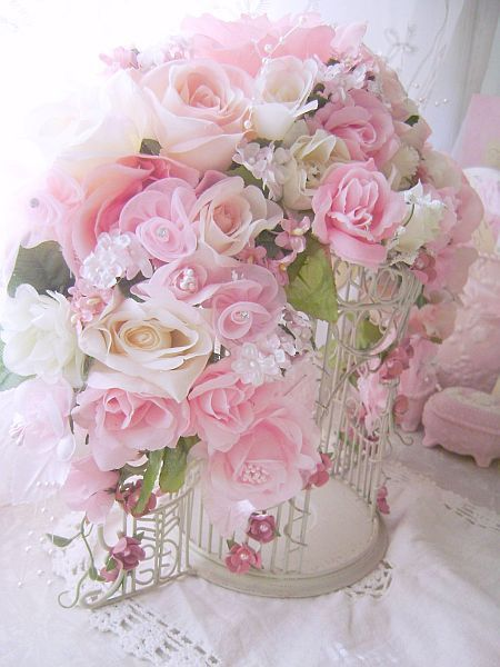 Romantic Rose Bird Cage. Shabby Chic.