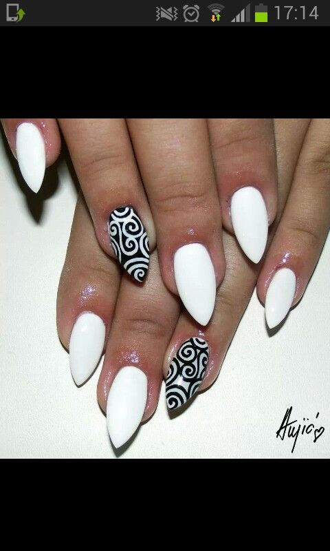 Black Pointed Nails Black and white pointe...
