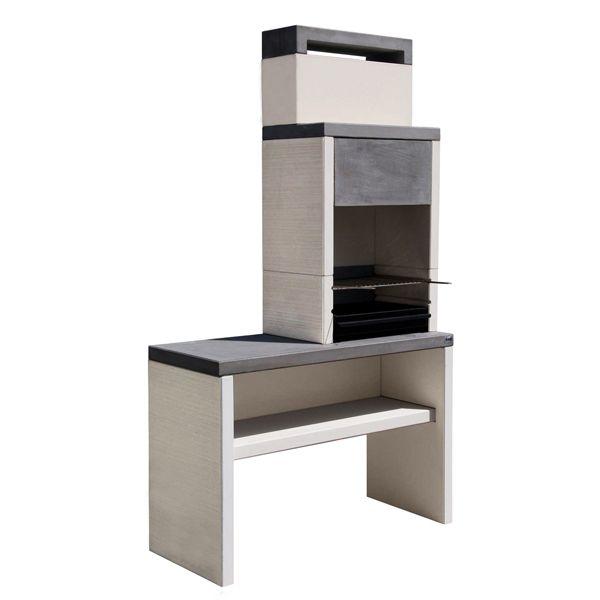 Barbecue fixe en béton avec cheminée et tablette Blanc&Gris SYDNEY