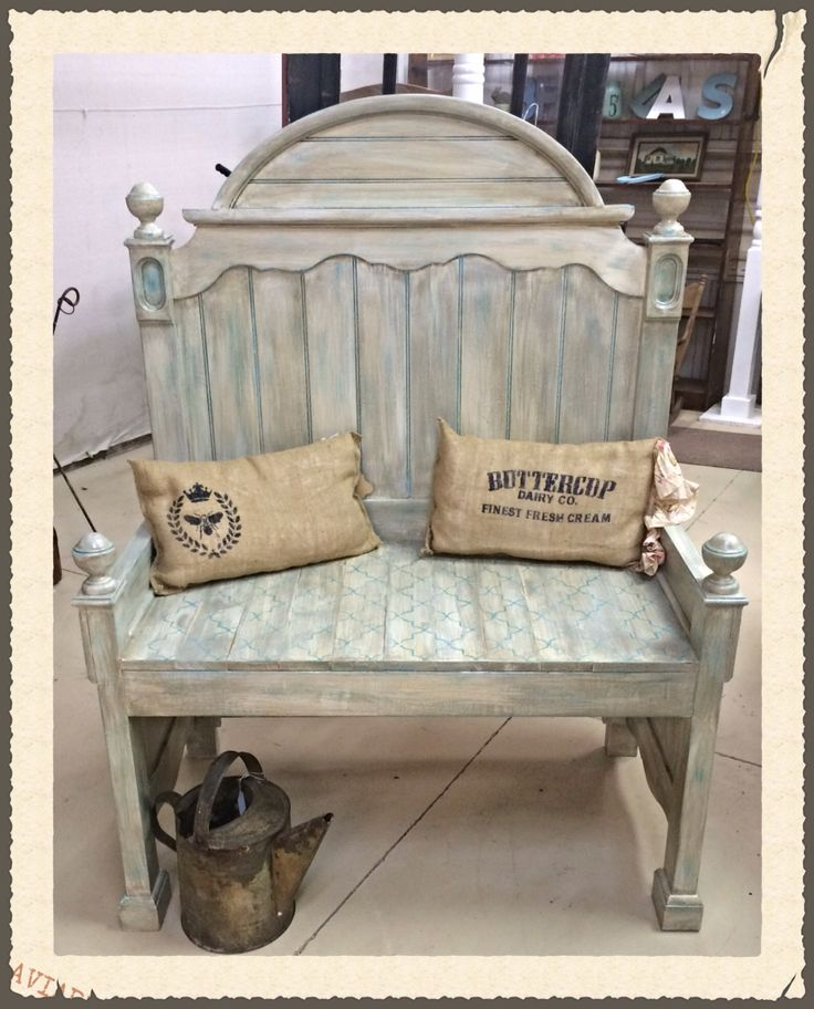 Bench from old bed frame