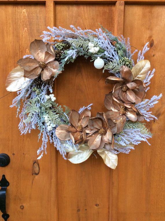 Magnolia Christmas Wreath, Winter Wreath, Front Door, Grapevine Wreath, Artificial Silk Flower Festive Wreath, Wall Decor, Made in Canada