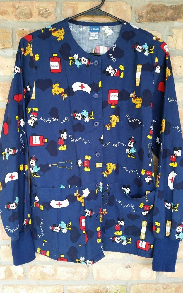 Disney Mickey Minnie Mouse Nurse Scrub Jacket Long Sleeve Top Blue Coat Sz XS  | Clothing, Shoes & Accessories, Uniforms & Work Clothing, Scrubs | eBay!