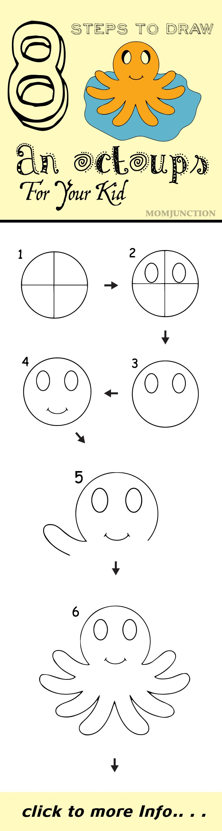 8 Step By Step Tutorial For Drawing An Octopus For Your Kids