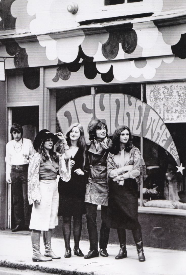 """""""London, England, 1968, Former psychology student opens London's latest Boutique, 'Beyond the Pale', Seen here are (L-R) Manageress Jo Cruickshank, model Chantey Mulville, owner Peter Woodworth & model Anthe Holt.""""  (from 20th Century Fashion book by..."""