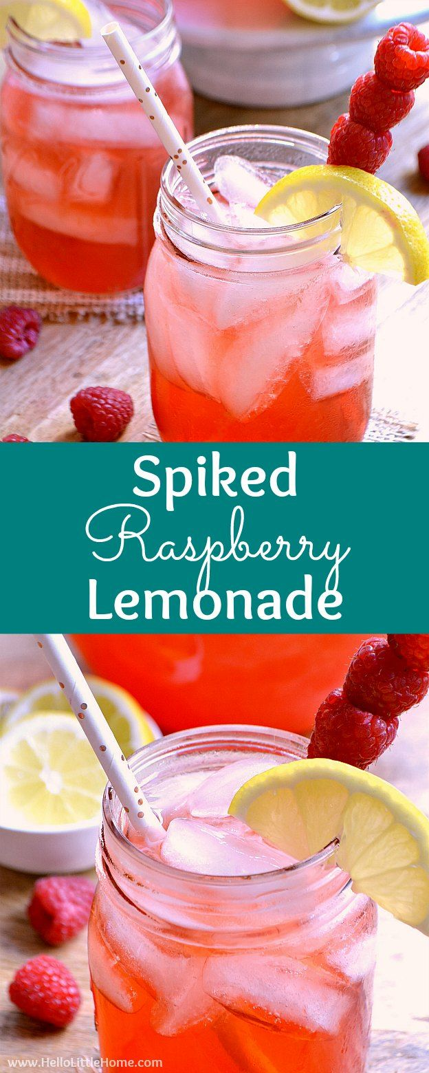 Spiked Raspberry Lemonade recipe, an easy summer cocktail! This simple spiked lemonade recipe is made from homemade lemonade, vodka, and Torani Raspberry Syrup. Make a pitcher of this pink lemonade in minutes for a refreshing party drink that's perfect for a crowd. Serve this spiked lemonade cocktail in mason jars or your favorite glasses for easy summer entertaining! A refreshing raspberry cocktail that's great for happy hour, baby showers, girls night, and more! | Hello Little Home #Ad