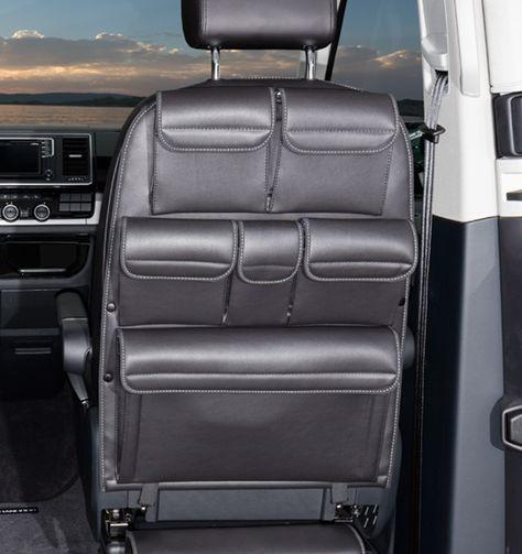 UTILITY pour les sièges de la cabine conducteur T6 / T5 VW California Beach / Multivan. Design : « Noir Titane Cuir » .