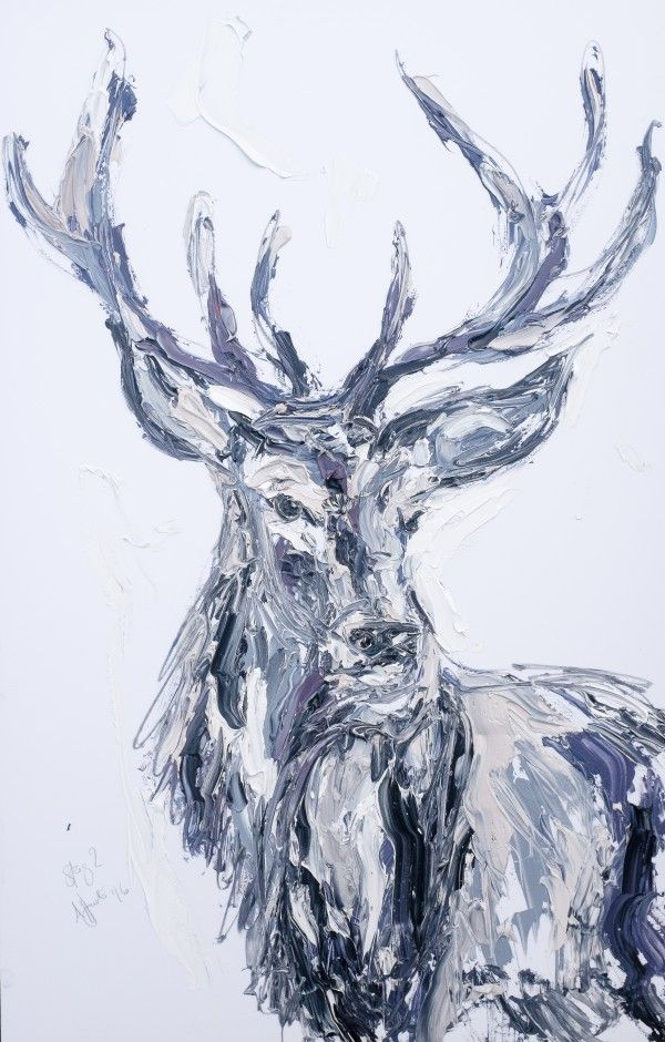Mr Stag is made using the same type of palette marks as Aly's strongest works. This Stag painting has depth and colour. His gentle face will suit any decor.