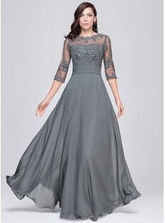 A-Line/Princess Scoop Neck Floor-Length Tulle Evening Dress With Beading Appliques Lace Sequins (017025440) - JJsHouse