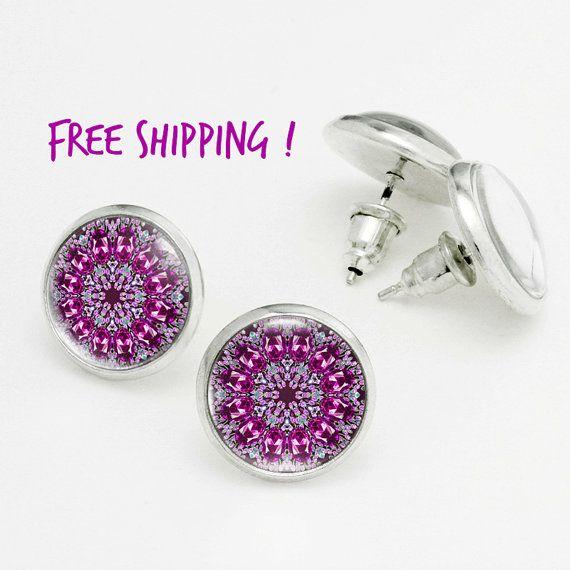 Purple Kaleidoscope Earrings. Mandala Art Studs, Energizing Purple Studs. Nickel Free Stud Earring, Silver Stud Earrings KSZ02R14K05S