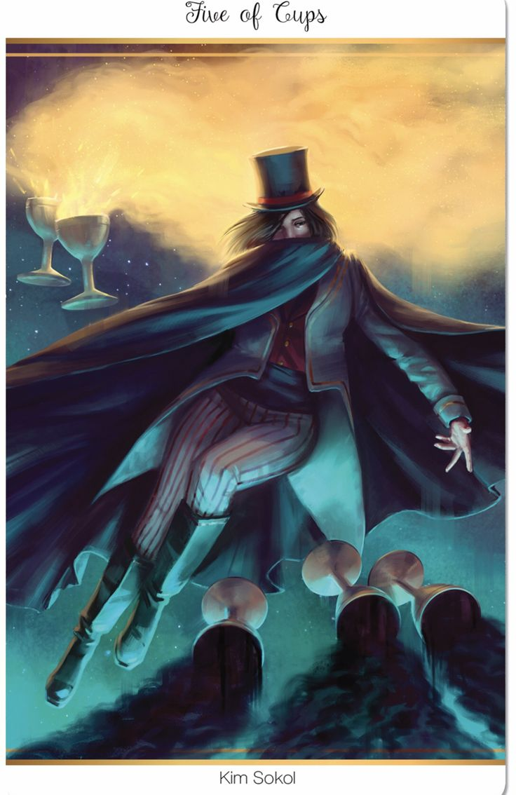 Featured Card of the Day - 5 of Cups - 78 Tarot Carnival ~ Cirque du Tarot