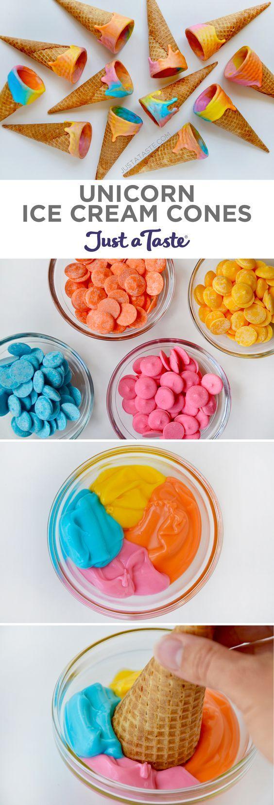Unicorn Ice Cream Cones recipe from justataste.com #unicorn #recipe @justataste